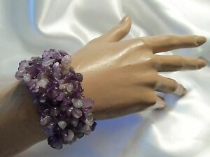 FUNKY-COOL-Design-ULTRA-CHUNKY-Style-AMETHYST-Agate-STONE-Stretch-Bracelet