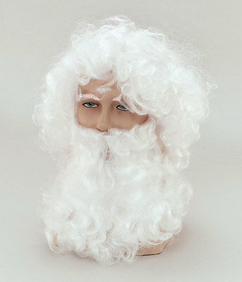 Clever Mens Wig & Beard Old Man Father Christmas Santa White Curly Xmas Costume New Reine WeißE