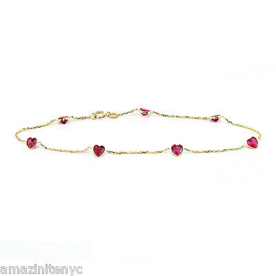 14K Yellow Gold Ruby Red Heart Shaped Cubic Zirconia Anklet Bracelet 9.5 Inches