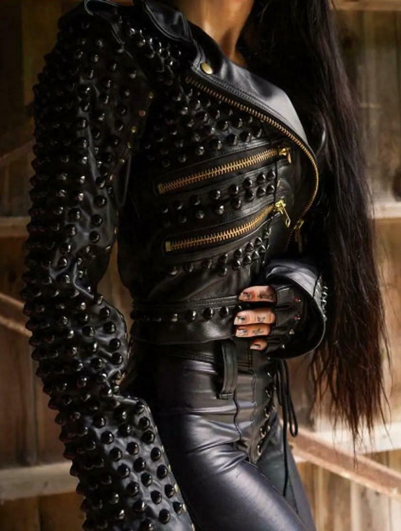 New Womens Punk Full Studded Brando Black Leather Jacket, studded jacket wear