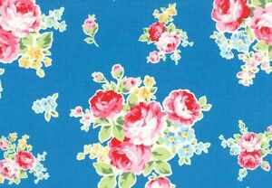 Cottage-Shabby-Chic-Lecien-Cotton-Fabric-Flower-Sugar-Med-Bouquet-30968L-70-BTY