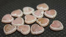 15 Opaque Light Peachy Pink Acrylic Heart Beads 14x12mm B372