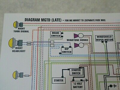 1953 MGTD (Late) Wiring Diagram 11 By 17