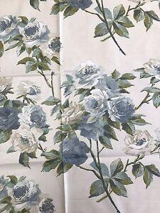 57cm SANDERSON Eglantine vintage rose blue cotton chintz curtain fabric remnant - Carnforth, United Kingdom - 57cm SANDERSON Eglantine vintage rose blue cotton chintz curtain fabric remnant - Carnforth, United Kingdom