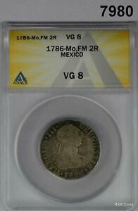 1786 MO, FM 2 REALES MEXICO ANACS CERTIFIED VG8 #7980
