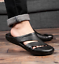 Mens PU Leather Closed Toe Mules Slippers Summer Beach Slides Sandals Shoes New