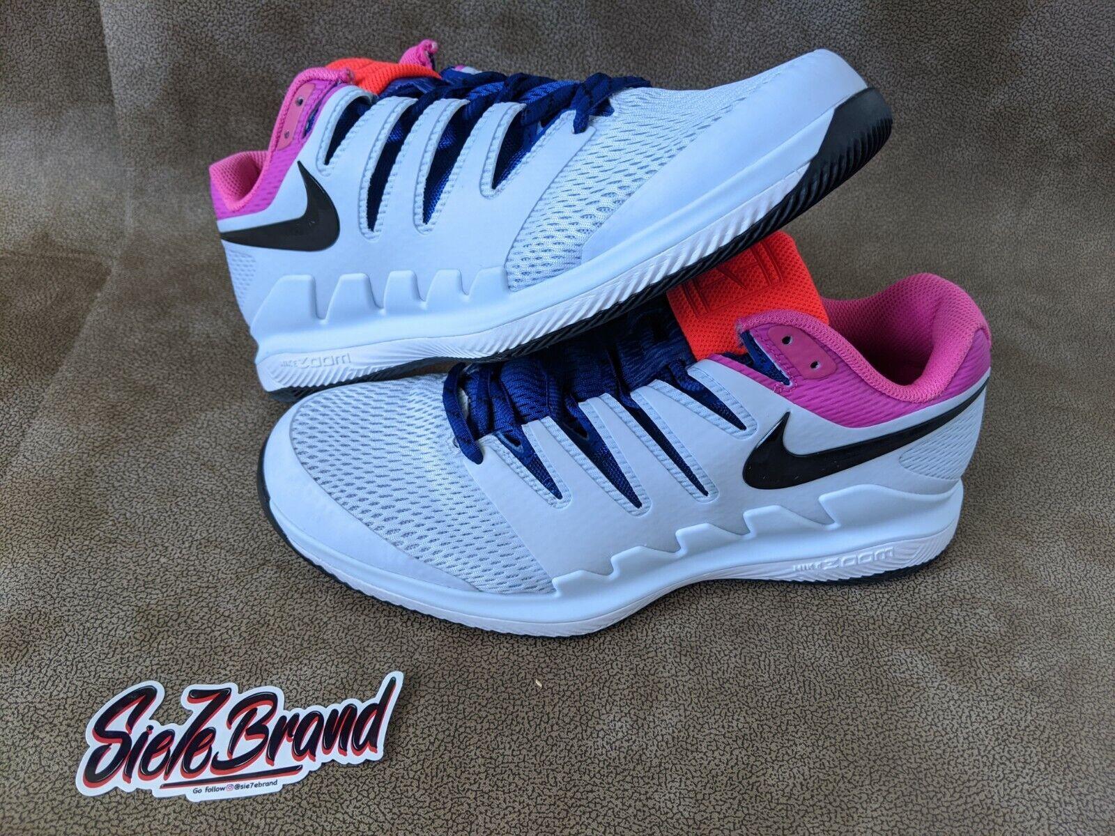 Men's Nike Air Zoom Vapor X HC Tennis Shoe Half Blue/Black/Purple AA8030-401