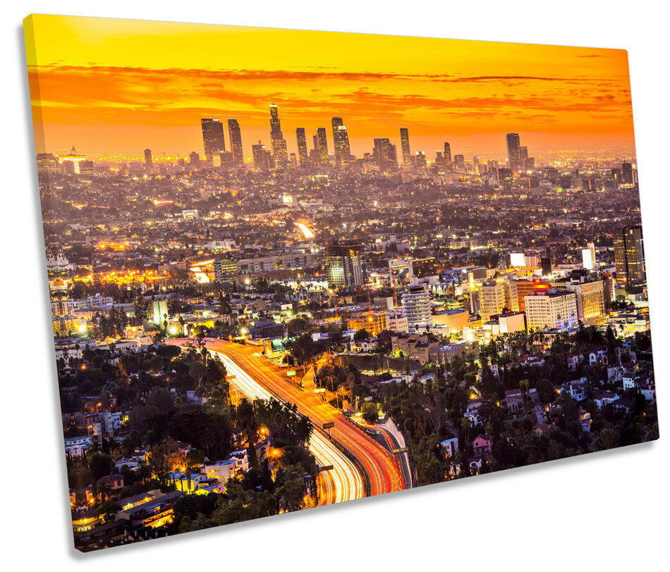 Los Los Los Angeles puesta de sol ciudad SINGLE LONA parojo arte Cuadro Enmarcado a16425