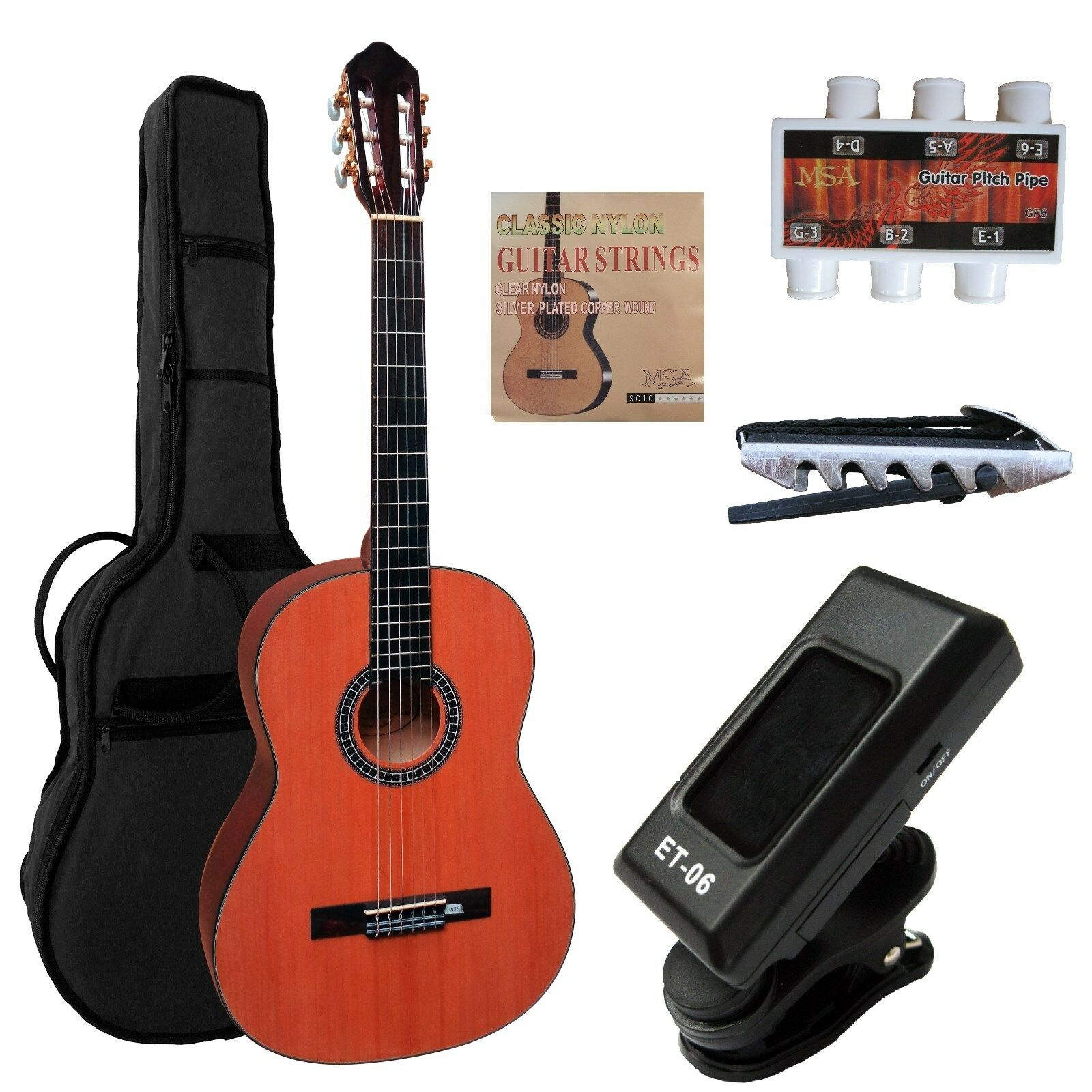 Konzertgitarre, Classic 4 4 Massiv, HG78, Fichte dunkel,Set,Tasche, Zubehör, ET6