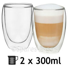 Double Walled Thermal Coffee Glass Tumbler Latte Cappuccino Cup Glasses  300ml X8