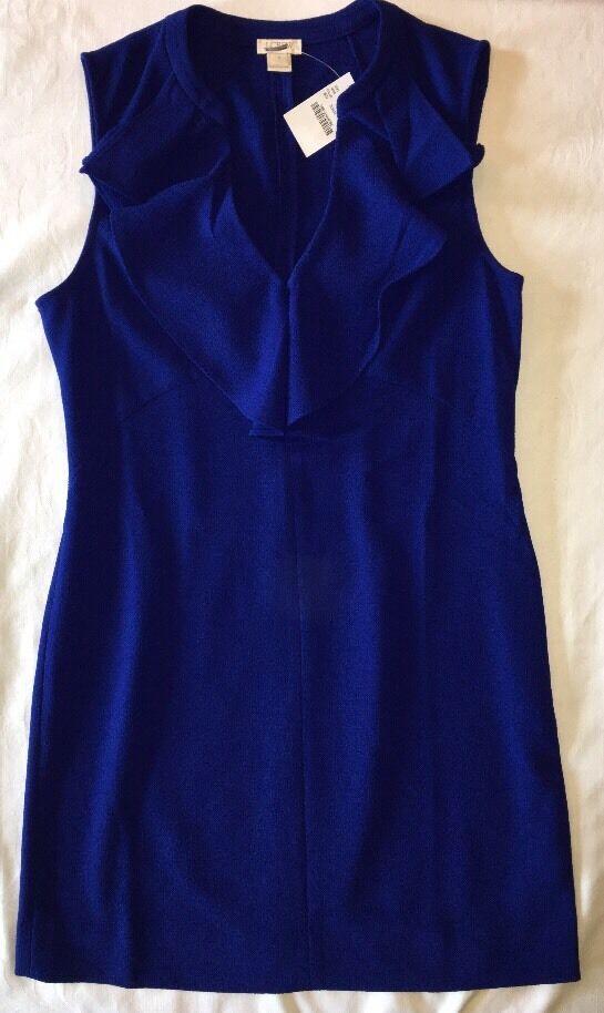 J Crew Dress 2 e3729 Ruffle Collar Shift NWT  98 Bright Indigo bluee