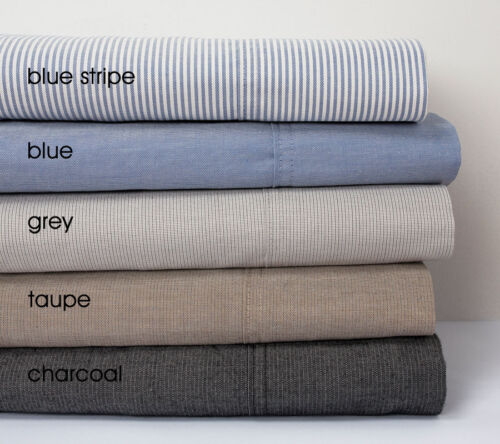 Bambury 100/% Cotton Chambray Sheet Set with 50cm Wall Depth QUEEN Bed Charcoal