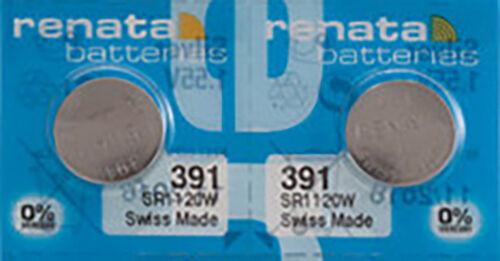 2 x Renata 391 Watch Batteries, 0% MERCURY equivalent SR1120W, Swiss Made
