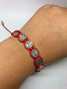 Red cord St Benedict rosary style bracelet, adjustable, religious, perfect gift