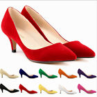 Sexy Womens High Heel Pumps Formal Suede Pointy Toe Business Court Shoes Pull On