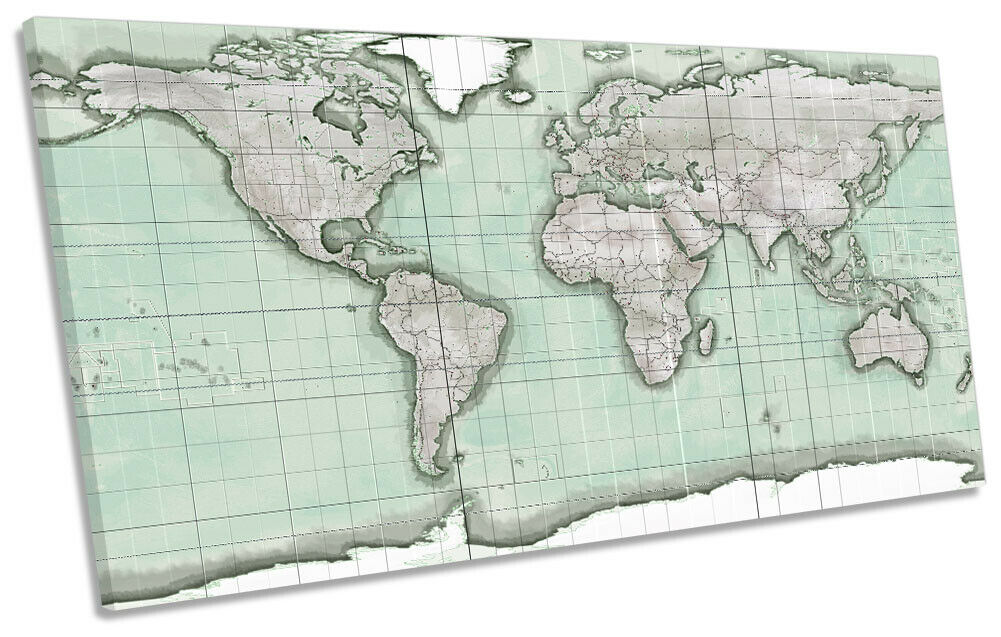 Vintage World Map Print PANORAMIC CANVAS WALL ART Picture Grün
