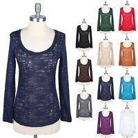 Cotton Slub Burnout Long Sleeve Scoop Neck Top TEE T Shirt BASIC Cotton S M L