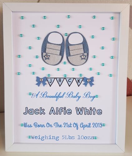 Personalised Framed Baby Boy Shoes New Baby Birth,Christening Handmade Gift