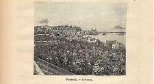 Stampa antica POZZUOLI veduta panoramica golfo di Napoli 1891 Old antique print