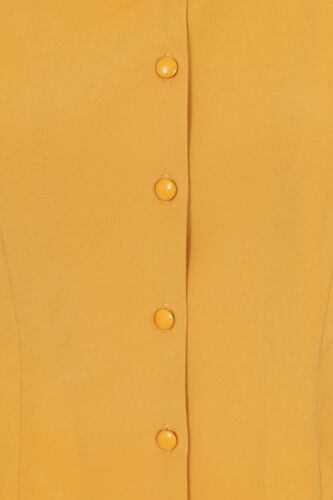 Women/'s Mustard Janine Vintage Retro Formal Blouse Shirt Top By Banned Apparel