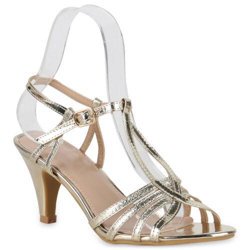 Damen Abiball Hochzeit Riemchensandaletten Metallic Stiletto Heels 830152 Trendy