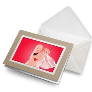 Greetings-Card-Biege-Cute-Finger-Bride-amp-Groom-Wedding-Fun-8675