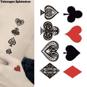 Tatouage,Ephemere,Temporaire,Carte,a,jouer,Pic,Coeur,