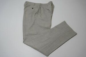 SuitSupply Sienna Int. Light Heathered Gray Wool Flat Front Dress Pants 36/35