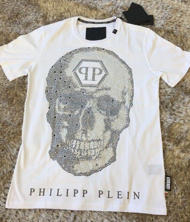 Genuine Philipp Plein 'Six' Medium Weiß T-shirt Brand New with Tags