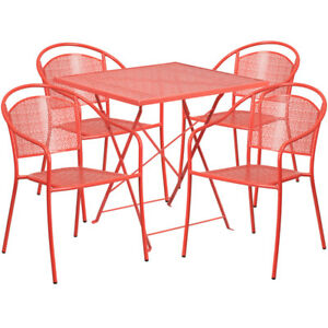 Awesome Details About 28 Red Indoor Outdoor Folding Patio Restaurant Table Set W 4 Round Back Chairs Bralicious Painted Fabric Chair Ideas Braliciousco