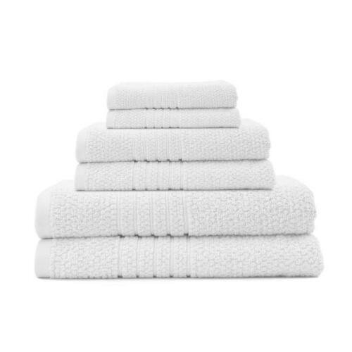 NEW Softee Spa Home Zero Twist White Bath Towel White Waffle Bath Towel Set