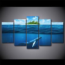 Blue Deep Ocean Whale 5 piece HD Art Poster Wall  Home Decor Canvas Print
