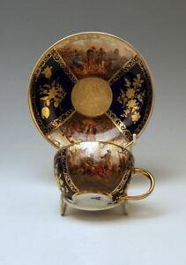 MEISSEN-SAMMEL-TASSE-SCHIFFAHRTEI-KOBALTBLAU-GOLD-CUP-WITH-SAUCER-UM-1850