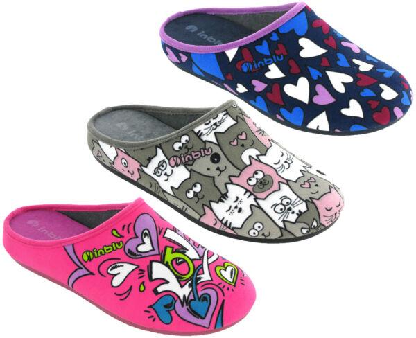Agresivo Inblu Pantuflas De Salón Zuecos Novedad Sin Cordones, Cálido Zapatos Mujer Vg005