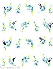 Nail Art Water Decals Decoration Blue Oriental Japanese Flowers Gel Polish (260)