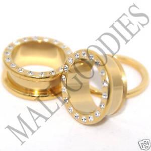 0397-Screw-on-fit-Gold-Clear-CZ-Flesh-Tunnels-11-16-034-Inch-Ear-Plugs-18mm-Steel
