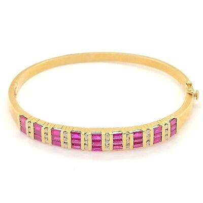 14K Yellow Gold Ruby Diamond Bangle Bracelet 4.13 CTW Natural Diamonds Size 7