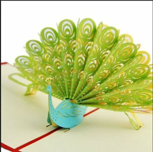 3D Up Card Peacock Happy Birthday Greeting Baby Gift Party New Hot Cards