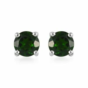 925-Sterling-Silver-Platinum-Over-Chrome-Diopside-Solitaire-Stud-Earrings-Ct-0-6