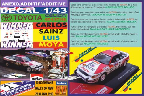 ANEXO DECAL 1/43 TOYOTA CELICA GT4 C.SAINZ R.NEW ZEALAND 1990 WINNER (01)