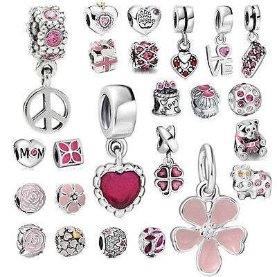 Pink Flower Pendant 925 silver charms bead For sterling PAN bracelets Necklace
