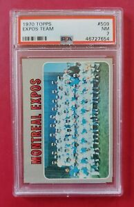 1970-Topps-509-MONTREAL-EXPOS-Team-Card-PSA-7-NM-CLEAN-amp-SHARP-FREE-SHIP