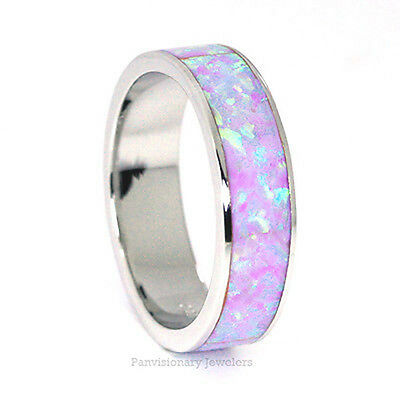 Stackable Purple Fire Opal 925 Sterling Silver Eternity Band Ring 6MM half sizes