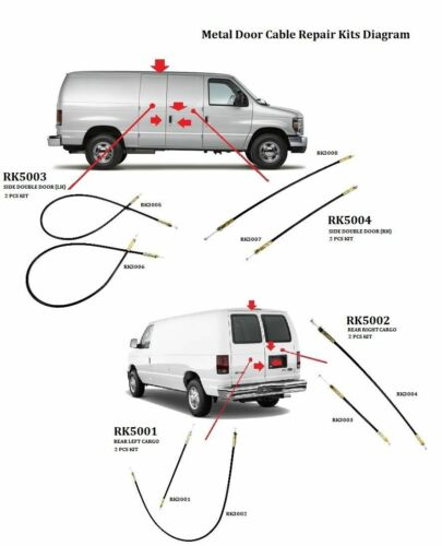 Metal Cable for Ford Van E150 E250 E350 Side Cargo Double Door Upper Latch Wire
