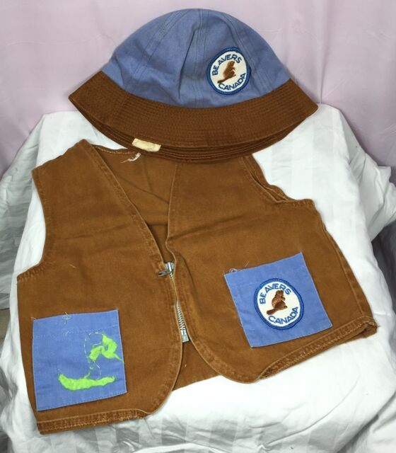 Beavers Canada Vest And Brimmed Hat Kids Size Vintage Zippered Patches On Both