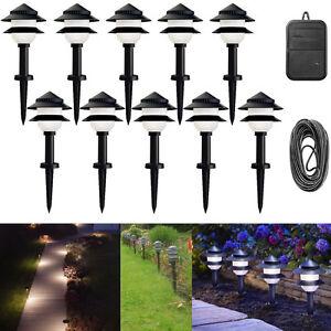 path way lighting low voltage exterior landscape walk garden light set. Black Bedroom Furniture Sets. Home Design Ideas