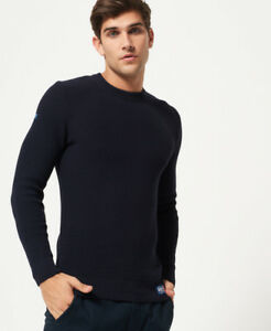 New Mens Superdry University Waffle Crew Jumper Navy