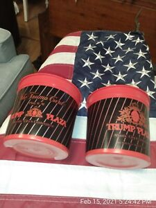 2X-Trump-Plaza-Atlantic-City-Hotel-Casino-Vintage-Slot-Coin-Cups-Bucket-72032