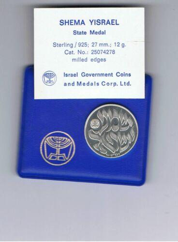 "Case COA 1980 /""Shema-Yesrael/""-/""Hear O Israel/"" State Medal 27mm 12g Silver"