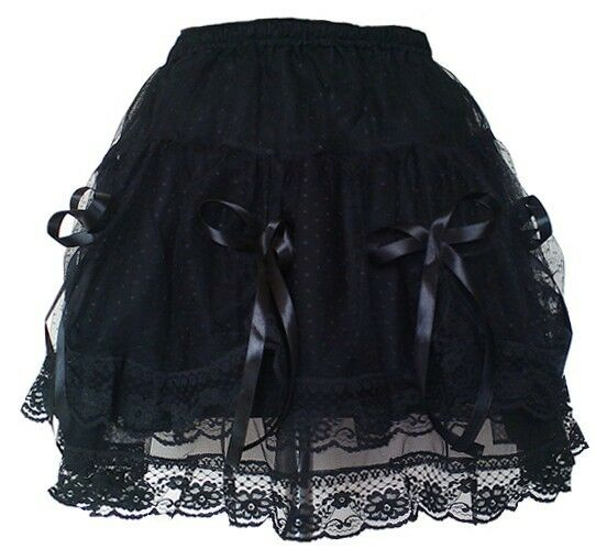 Women Gothic Knee Length Halloween Formal Prom Party Skirt Elasticated Waist
